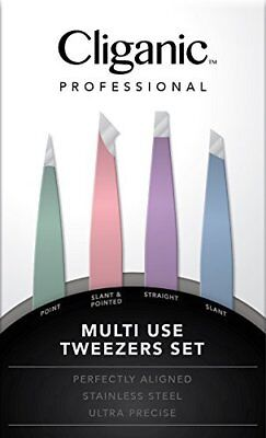 4-piece Professional Tweezers Set With Case | Stainless Steel | Best Precision F
