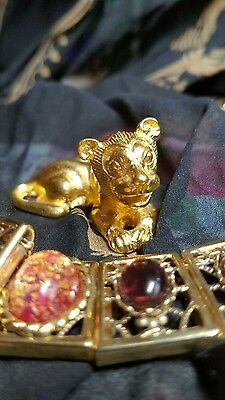MMA Metropolitan Museum of Art Brass Egyptian King Tut Lion 24K Gold Pl Vintage