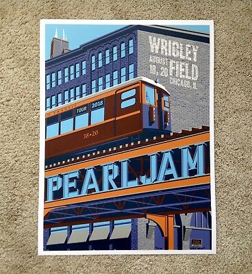 Pearl Jam Wrigley Field Chicago Steve Thomas Poster Print Signed VARIANT L Train
