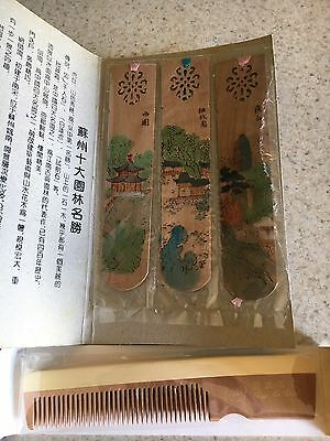 Vintage Shanghia Wooden Comb And 3 Wooden Bookmarks New