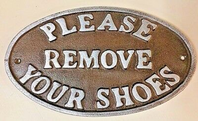 """Please Remove Your Shoes"" Sign Oval Plaque cast iron metal Brown Silver Letters"