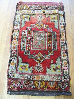 "1'10"" x 3'5""  Antique Turkish Oushak Hand Made 100% Wool Oriental Rug"