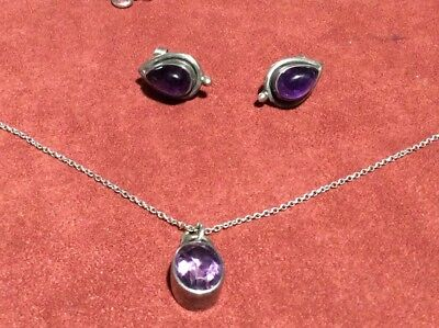 Sterling Silver Jewelry Lot Amethyst Necklace & Earrings