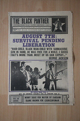 ORIGINAL VINTAGE BLACK PANTHER NEWSPAPER Aug 12,1972 Collectible & Rare