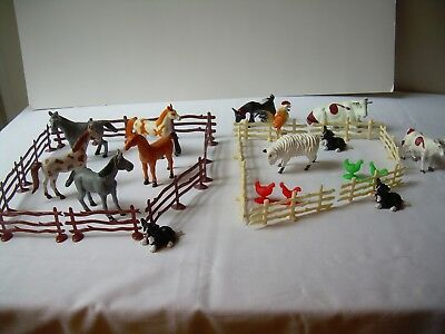 Vintage TOY FARM YARD ANIMALS Plastic Rubber Fencing 30 Total Pieces  Let's Play