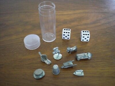 Lot Of 10 ~ 8 Vintage Monopoly Replacement Game Pieces Tokens Metal & 2 Dice