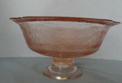 Recollection pink footed bowl- Indiana glass-Madrid pattern