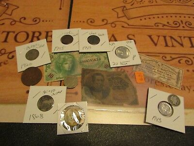 Collection Of Old U.s. Coins And Currency  Set # 7        W/ 2  Silver Coins