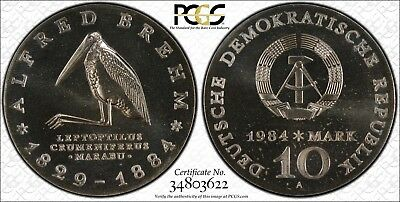 East Germany 1984-A 10 Mark, Alfred Brehm, PCGS MS67