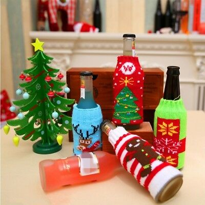 Christmas Wine Bottle Sweater Knit Bag Xmas Santa Tree Drink Ornament Cover WS