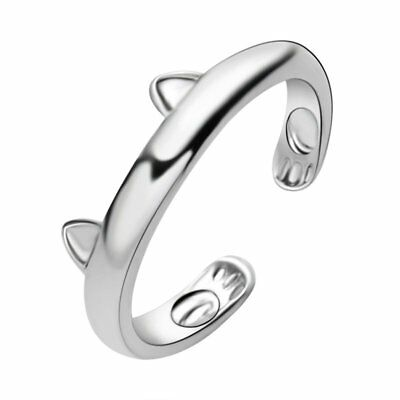 Women Silver Cat Ears Adjustable Band Thumb Finger Ring Jewelry Open Knuckle
