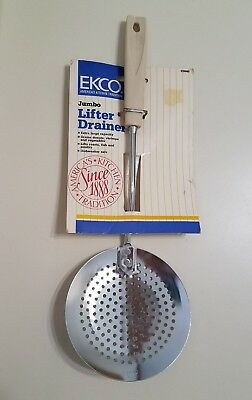 Vintage Ekco Lifter Drainer Almond Handle New Old Stock Kitchen Utensil Usa Made
