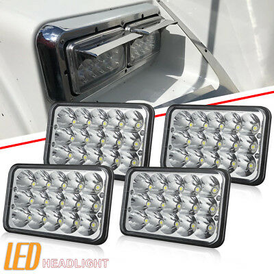 "4 pcs 4X6"" LED Headlights Hi/Lo Light Crystal Clear Sealed H/L Beam DOT Headlamp"