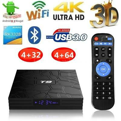 T9 4GB+32GB/4GB+64GB Android 8.1 TV BOX RK3328 Quad Core USB BT WiFi 4K 3D Media