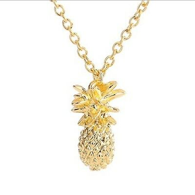 Lady Gold and silver Plated Pineapple Gilded Cute Fruit Fashion Charm Necklace