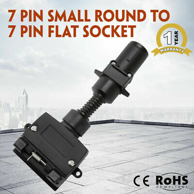 New Black 7 Pin Small Round To 7 Pin Flat Socket Trailer Connector Adaptor Plug