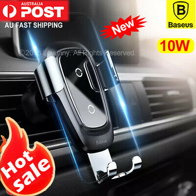 Baseus Qi Wireless Charger Car Air Vent Mount Phone Holder iPhone XS 11 Pro Max