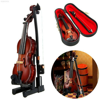 Mini Violin Miniature Musical Instrument Wooden Model with Support and Case funy