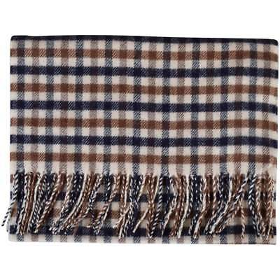 Aquascutum Scarf 100% Lambswool Classic House Check Brand New With Tags  Vicuna 19a96e53737