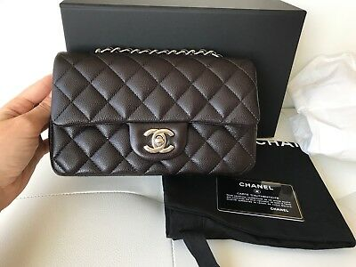 d161474f61c64 2018 Chanel Mini Rectangular Flap Bag Quilted Brown Caviar Leather Silver  Hw Cc