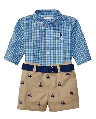 RALPH LAUREN baby boy striped embroidery LS SHIRT /& chino SHORTS SET /& Belt BNWT