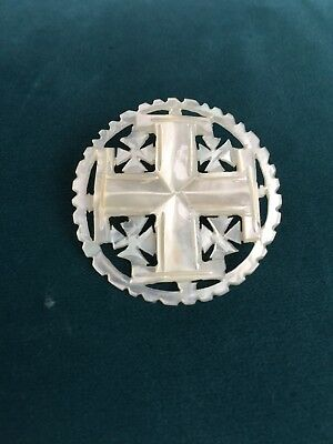 Vintage Carved Bethlehem Pearl Round Cross Button  / Pin MOP