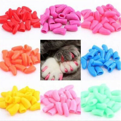 20pcs+1 Glue Soft Dog Cat Nail Caps Pet Claw Covers Paw Protective Mult-color