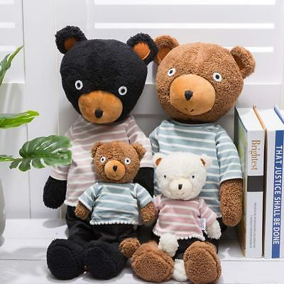 4-Pieces Plush Teddy Bear Stuffed Animal Family Doll Removable Clothes Set