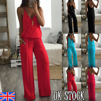 UK Womens Ladies Sleeveless Casual Wide Straight Leg Jumpsuit Romper Size 10-16