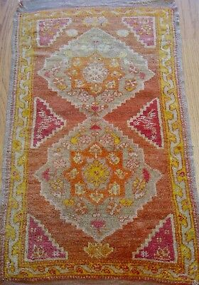 "1'7"" x 3'   Antique Turkish Oushak Hand Made 100% Wool Oriental Rug, c. 1870"