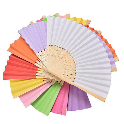 Ladies Hand Held Folding Hand Fan Bamboo Paper Party Wedding Prom Dance Qg