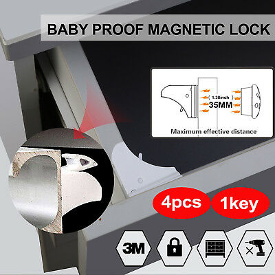 4PCS Kids Baby Safety Proofing Cabinet Drawer Cupboard Locks Magnetic Child UK