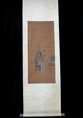 "Very Long Old Chinese Scroll Hand Painting Women Kid ""YanWenGui"" Marks"