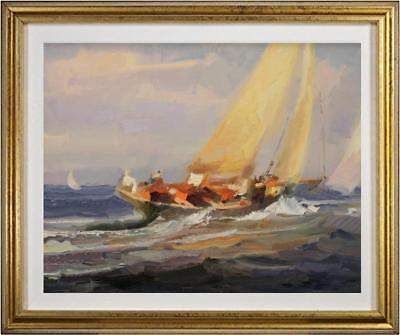 "Hand-painted Original Oil painting art impression sailboat On Canvas 20""x24"""