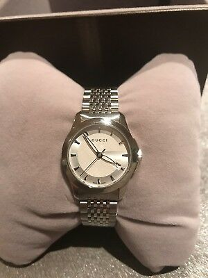 79a2e9e4e7f New Gucci G-Timeless Silver Dial Stainless Steel YA126501 27mm Ladies Watch