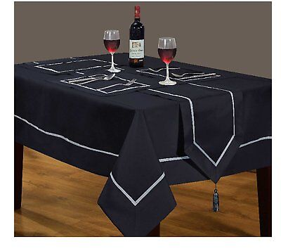 "Large Rectangular Black/Silver Tablecloth 70"" x 108(178cm x 275cm)"
