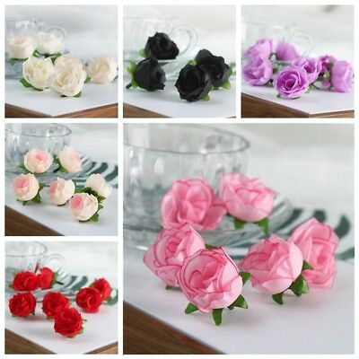 10/20/50pcs Silk Rose Bud Heads Artificial Fake Flower Wedding Party Decoration