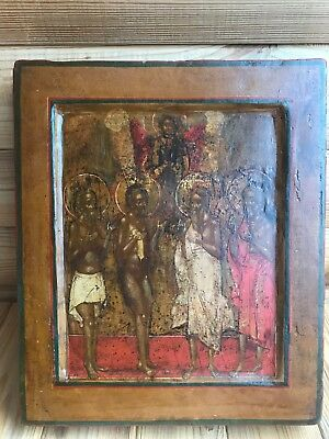 "Antique 18c Russian Orthodox Hand Painted Wood Icon ""Selected Saints"""