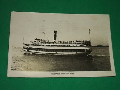 Vintage Postcard  RPPC 1942 The Statue Of Liberty Boat