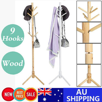 3Tier Tree Style 9 Hooks Hat Coat Clothes Rack Wood Umbrella Stand triangle Base