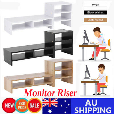 Computer Monitor Riser Desk Table LED TV Stand Shelf Desktop Laptop Organizer AU