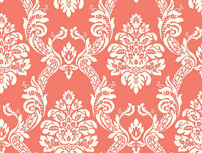 York Wallcoverings HS2130 Pattern Play Ogee Damask Wallpaper coral, white