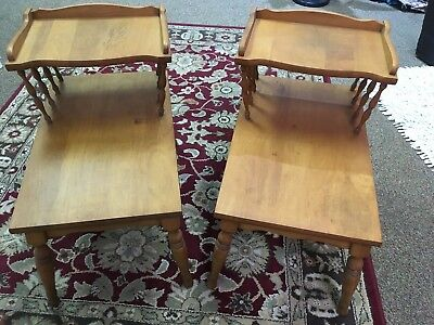 Vintage Pair of Wood Step End/Side Tables ~ Two tier ~ local pickup only