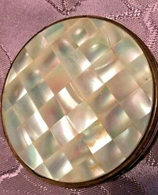 Vintage Mother of Pearl Powder Compact