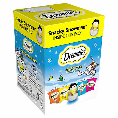 Dreamies Christmas Gift Box Cat Treats Different Flavours & Snacky Snowman Toy