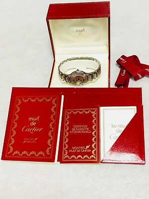 Cartier Must de 21 Watch Stainless Warranty Card Box Ribbon Ladies Authentic