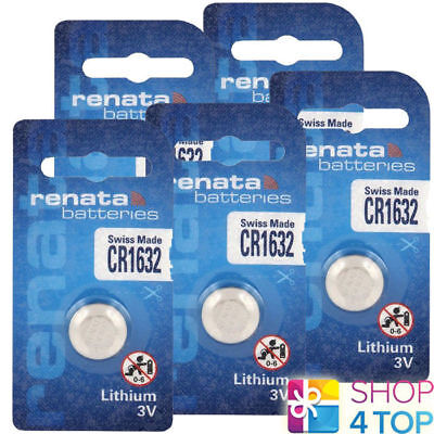 5 Renata Cr1632 Lithium Batteries 3V Cell Coin Button Swiss Made Exp 2025 New