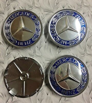 4x Mercedes Benz Blue & Silver Wheel Centre Caps 68mm Decal Emblem 3D Logo UK