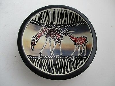 African Kenya Carved Small Round 4 Inch Hand Made Soapstone 2 Giraffe Dish Bowl