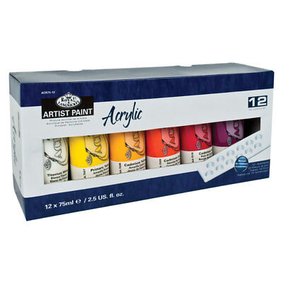 Royal & Langnickel Acrylic Paint Set of 12 x 75ml Colours with Palette